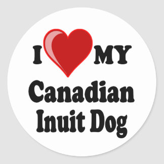I Love (Heart) My Canadian Intuit Dog Classic Round Sticker