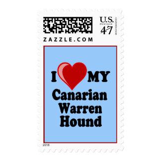 I Love (Heart) My Canarian Warren Hound Dog Postage