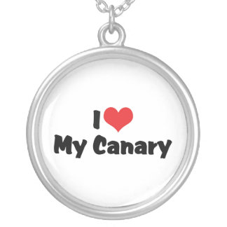I Love Heart My Canary - Bird Lover Silver Plated Necklace
