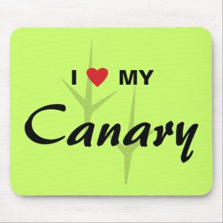 I Love Heart My Canary Bird Tracks Design Mousepads