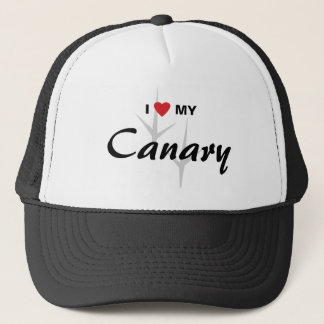 I Love (Heart) My Canary Bird Tracks Design Trucker Hat