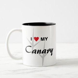 I Love (Heart) My Canary Bird Tracks Design Two-Tone Coffee Mug