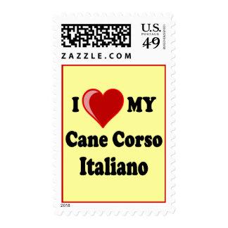 I Love (Heart) My Cane Corso Italiano Dog Postage Stamps