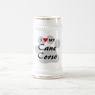 I Love (Heart) My Cane Corso Paw Print 18 Oz Beer Stein