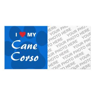 I Love Heart My Cane Corso Paw Print Custom Photo Card