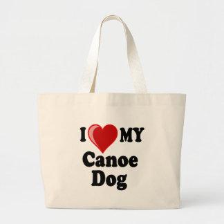 I Love (Heart) My Canoe Dog Tote Bags