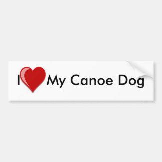 I Love (Heart) My Canoe Dog Car Bumper Sticker