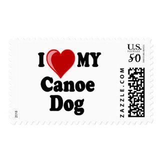 I Love (Heart) My Canoe Dog Postage