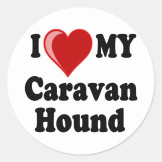 I Love (Heart) My Caravan Hound Dog Classic Round Sticker