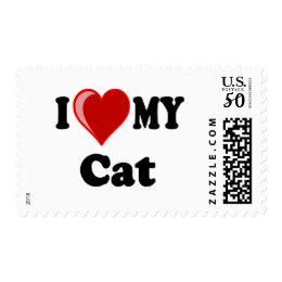 I Love (Heart) My Cat Gifts Postage