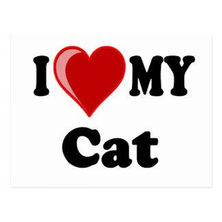 I Love (Heart) My Cat Gifts Postcard