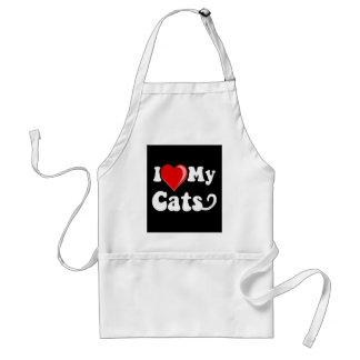 I Love (Heart) My Cats Adult Apron