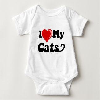 I Love (Heart) My Cats Baby Bodysuit
