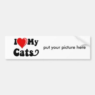 I Love (Heart) My Cats Car Bumper Sticker