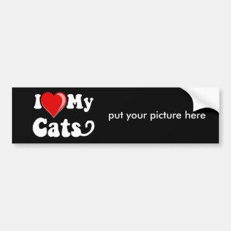 I Love Heart My Cats Bumper Stickers