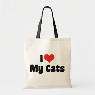 I Love Heart My Cats - Cat Lover Tote Bag