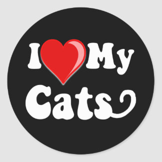 I Love (Heart) My Cats Classic Round Sticker