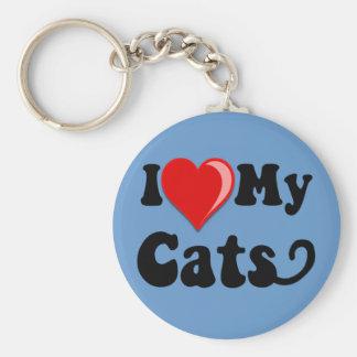I Love (Heart) My Cats Key Chains