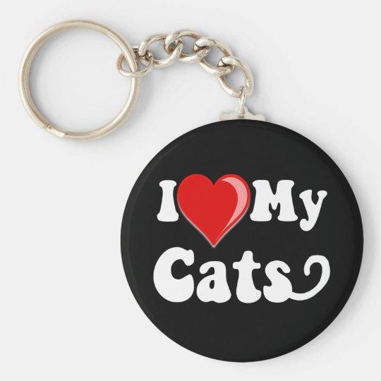I Love (Heart) My Cats Keychain