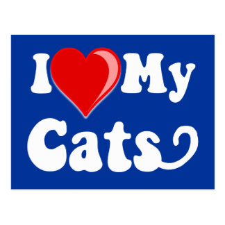 I Love (Heart) My Cats Post Card