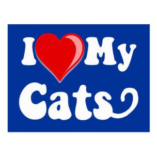 I Love (Heart) My Cats Postcard