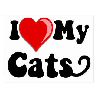 I Love (Heart) My Cats Postcards