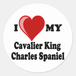 I Love (Heart) My Cavalier King Charles Spaniel Classic Round Sticker