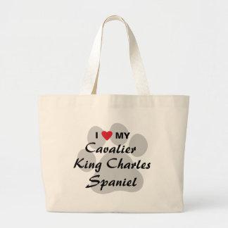 I Love (Heart) My Cavalier King Charles Spaniel Large Tote Bag