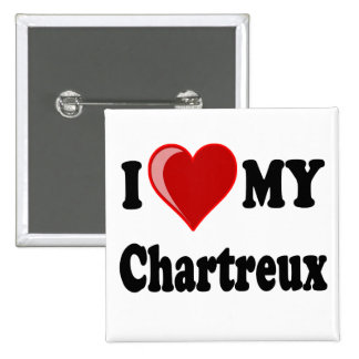 I Love (Heart) My Chartreux Cat 2 Inch Square Button