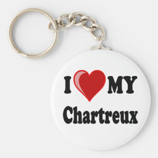 I Love (Heart) My Chartreux Cat Basic Round Button Keychain