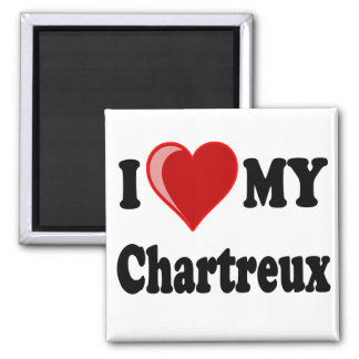 I Love (Heart) My Chartreux Cat 2 Inch Square Magnet