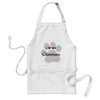 I Love (Heart) My Chartreux Cat Pawprint Design Adult Apron