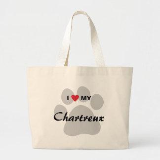 I Love (Heart) My Chartreux Cat Pawprint Design Jumbo Tote Bag