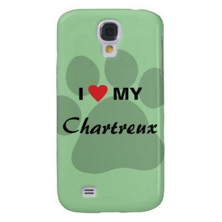 I Love (Heart) My Chartreux Cat Pawprint Design Galaxy S4 Cover