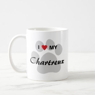 I Love (Heart) My Chartreux Cat Pawprint Design Coffee Mug