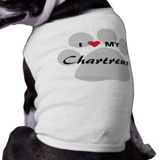 I Love (Heart) My Chartreux Cat Pawprint Design Dog T-shirt