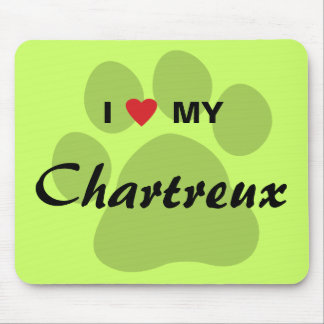I Love Heart My Chartreux Cat Pawprint Design Mousepad