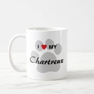 I Love (Heart) My Chartreux Cat Pawprint Design Classic White Coffee Mug