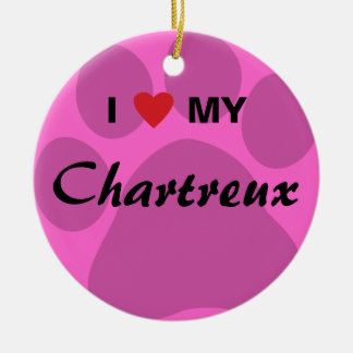 I Love (Heart) My Chartreux Cat Pawprint Design Double-Sided Ceramic Round Christmas Ornament