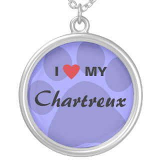 I Love (Heart) My Chartreux Cat Pawprint Design Round Pendant Necklace