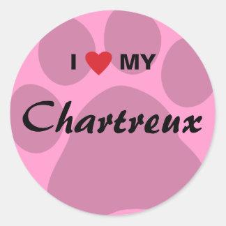 I Love (Heart) My Chartreux Cat Pawprint Design Classic Round Sticker