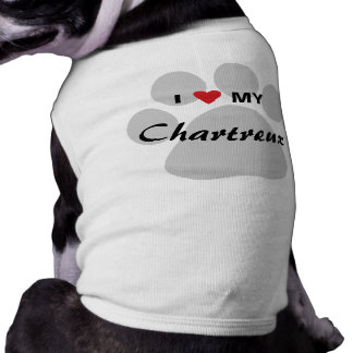 I Love (Heart) My Chartreux Cat Pawprint Design T-Shirt