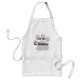 I Love (Heart) My Chausie Cat Pawprint Design Adult Apron
