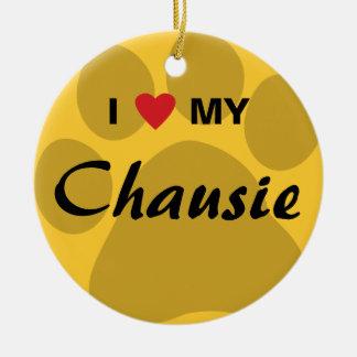I Love (Heart) My Chausie Cat Pawprint Design Ceramic Ornament