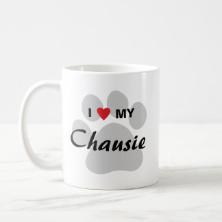 I Love (Heart) My Chausie Cat Pawprint Design Coffee Mug