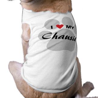 I Love (Heart) My Chausie Cat Pawprint Design Tee