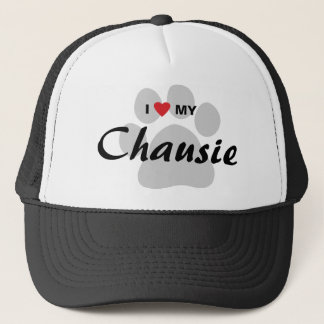 I Love (Heart) My Chausie Cat Pawprint Design Trucker Hat