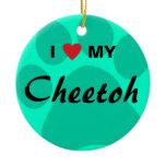 I Love (Heart) My Cheetoh Cat Pawprint Design Ceramic Ornament