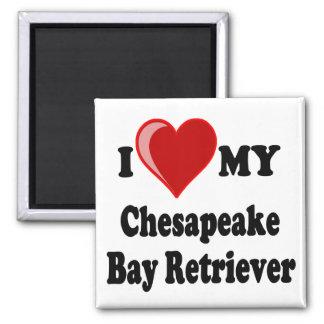 I Love (Heart) My Chesapeake Bay Retriever Dog 2 Inch Square Magnet