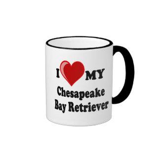 I Love (Heart) My Chesapeake Bay Retriever Dog Ringer Mug